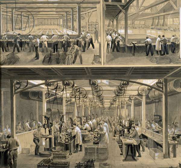 Interior of bike manufacturing factory, by Francaise de Velocipedes, 1890