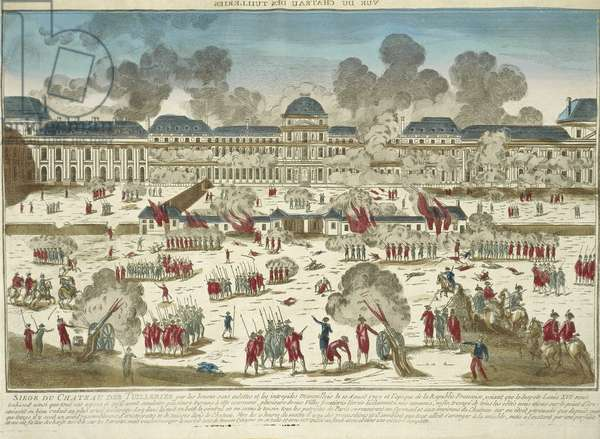 France, Paris, French Revolution, The storming of the Tuileries Palace in 1792, engraving