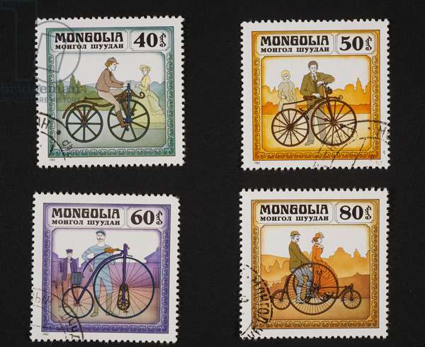 Postage stamps from series honoring Evolution of bicycle, depicting Lallement, Michaux, Kanguroo, Coventry Rotray Tandem, Mongolia, 20th century
