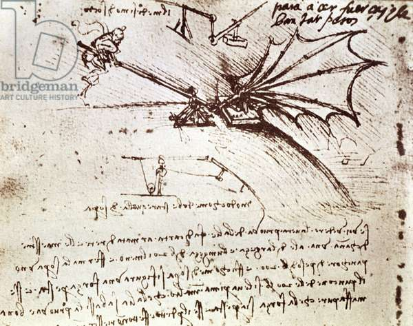 MS B fol.88v Testing the load tolerance of a wing, 1487-90 (pen and ink on paper)