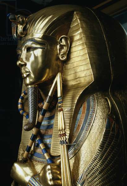 Inner sarcophagus of Tutankhamun decorated with gold and precious stones, from Tomb of Tutankhamun, Egyptian civilization, New Kingdom, Dynasty XVIII, Detail