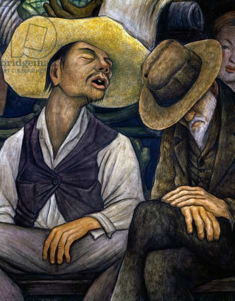 Indian and old man asleep, detail from Dream of a Sunday afternoon in Alameda Park, 1947, by Diego Rivera (1886-1957), from the Hotel del Prado fresco. Mexico, 20th century.