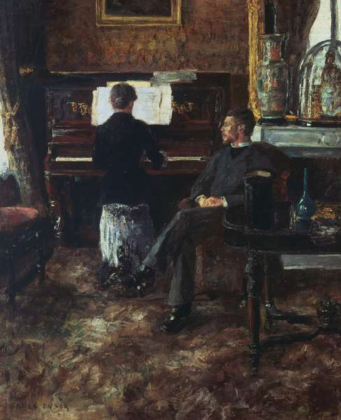 Russian music, 1881, by James Ensor (1860-1949), oil on canvas, 133x100 cm. Belgium, 19th century.