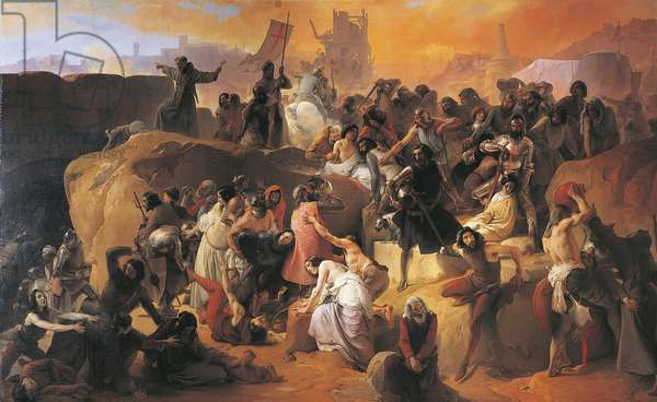 The Thirst Suffered by the First Crusaders in Jerusalem, by Francesco Hayez, detail, 1836-1850, oil on canvas