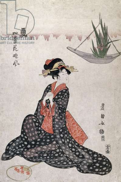 Flowers of four seasons, by Utagawa Toyokuni (1769-1825), ukiyo-e style woodcut, Japan, Japanese Civilisation, 18th-19th century