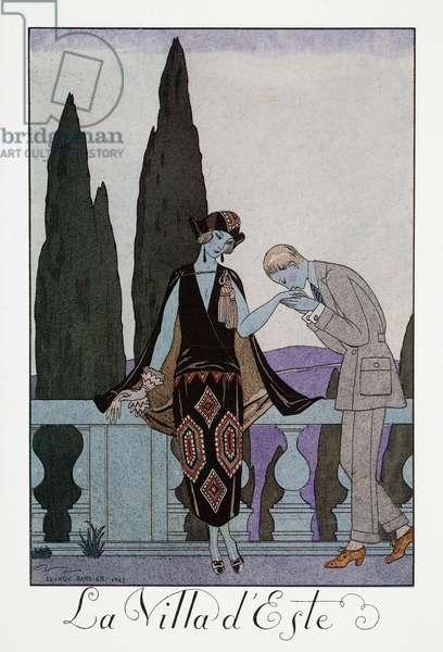Villa d'Este near Florence, lithograph by George Barbier (1882-1932), from Falbalas et Fanfreluches, Almanach des Modes Presentes, Passees et Futures, 1923, France, 20th century