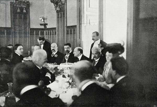 Gabriele D'Annunzio (1924-1863) celebrating success of Ship, Rome, January 15, Italy, photograph by Charles Abeniacar, from L'Illustrazione Italiana, Year XXXV, No 4, January 26, 1908