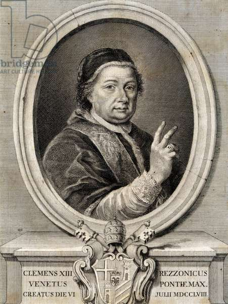 Portrait of Pope Clement XIII, born Carlo della Torre di Rezzonico (Venice, 1693-Rome, 1769), pope from 1758, engraving. Italy, 18th century