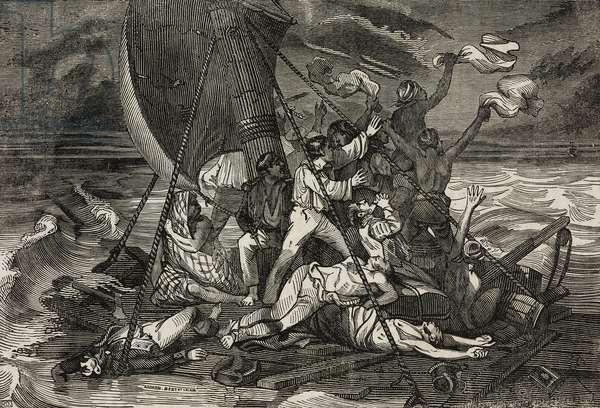 Raft of Medusa, from painting by Theodore Gericault, illustration from Teatro universale, Raccolta enciclopedica e scenografica, No 388, December 11, 1841