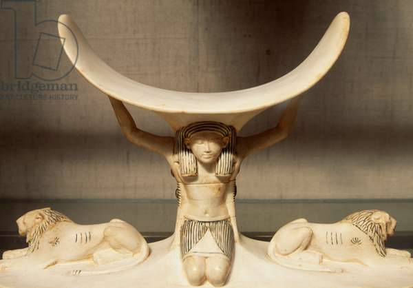Carved ivory headrest supported by Shu, personification of air, from the Tomb of Tutankhamun, Egyptian civilization, XVIII Dynasty