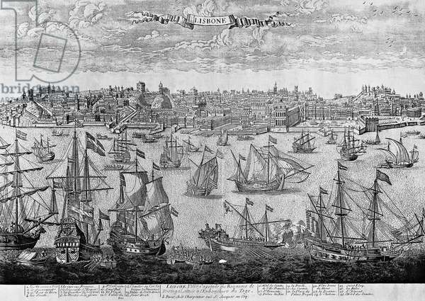 View of Lisbon, engraving, Portugal, 16th century