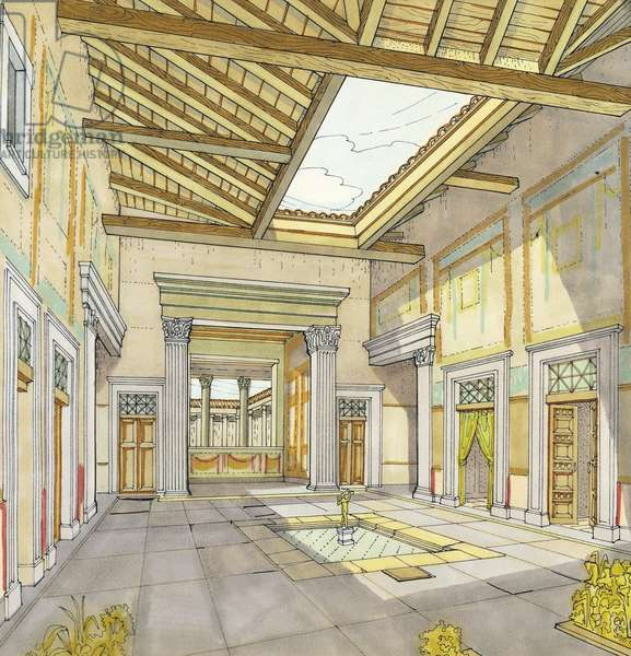 Reconstruction of House of Faun in Pompeii, design, Roman civilization
