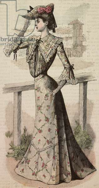 A woman in a foulard dress with Pompadour designs, creation by Madames Guermont and Bonnefoy, engraving from La Mode Illustree, No 32, August 10, 1902