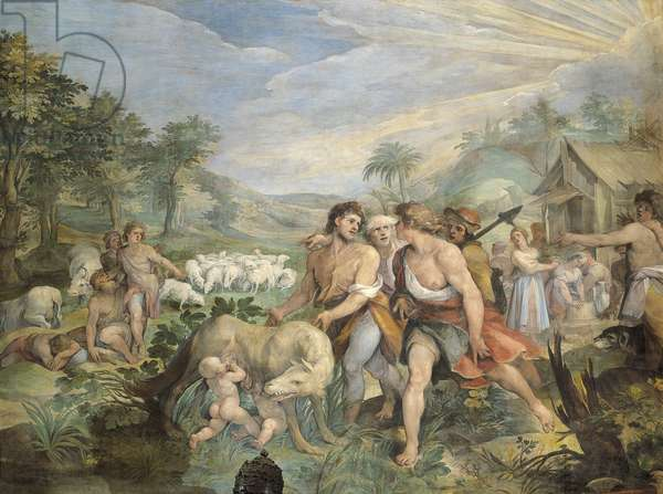 Romulus and Remus, suckled by wolf, found by Faustulus on banks of Tiber, by Giuseppe Cesari (1568-1640), fresco, Hall of Horatii and Curiatii, Conservatories Palace, Rome, Roman Kingdom, Italy