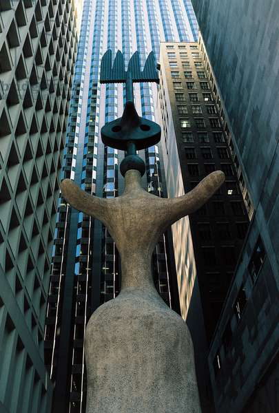 Miro's Chicago, a sculpture by Joan Miro (1893-1983) depicting a woman with open arms, Chicago, Illinois, United States of America, 20th century.