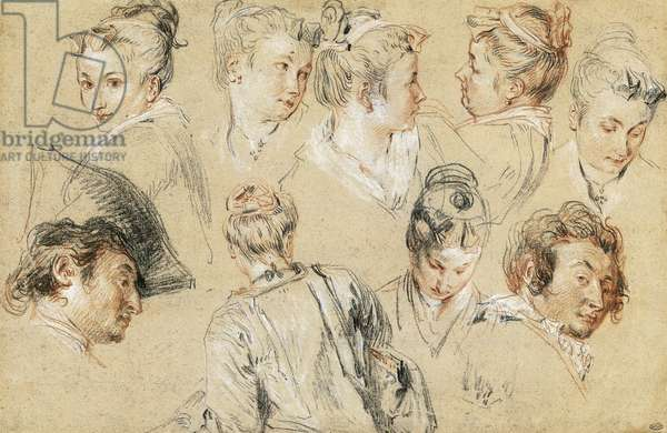 Study of heads, by Jean-Antoine Watteau (1684-1721), drawing