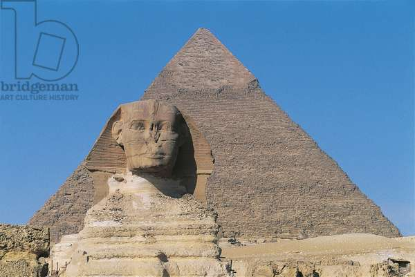 Egypt - Cairo - Ancient Memphis (UNESCO World Heritage List, 1979). Great Sphinx and pyramid of Chefren (greek: Khafre) at Giza