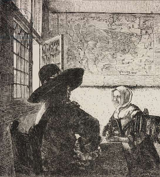Soldier and girl laughing, engraving by Marais based on painting by Jan Vermeer, from Paris-Guide by leading writers and artists of France, Volume 1, Science-Art, 1867