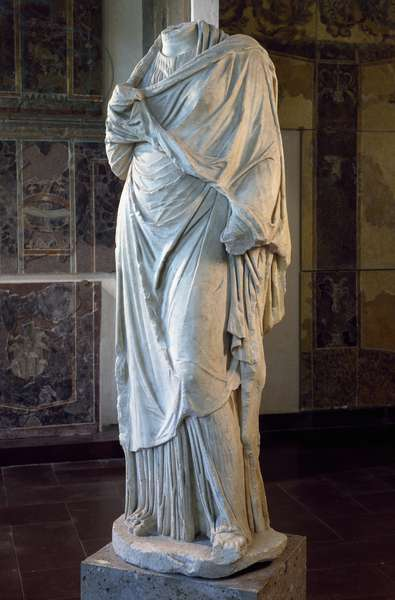 Statue of the so-called Great Ercolana, artifact from the imperial age from Ercolano, Campania, Italy, Roman Civilization, 1st century