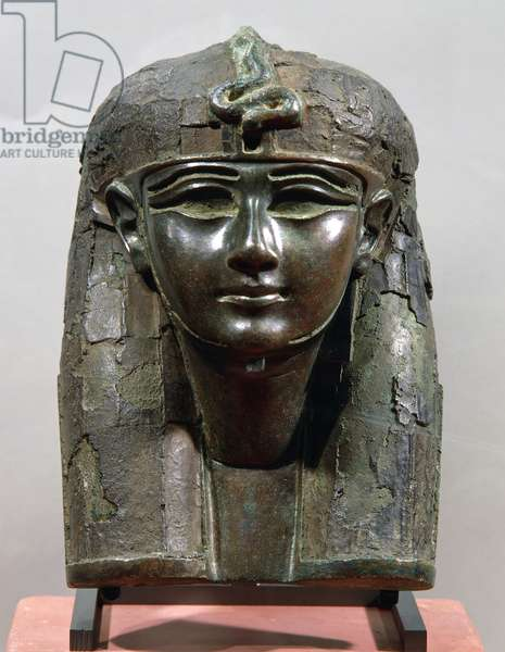 Royal head, presumably from piece of furniture or divine boat, bronze, 17.5 x11.5 cm. Egyptian civilization, New Kingdom-Third Intermediate Period