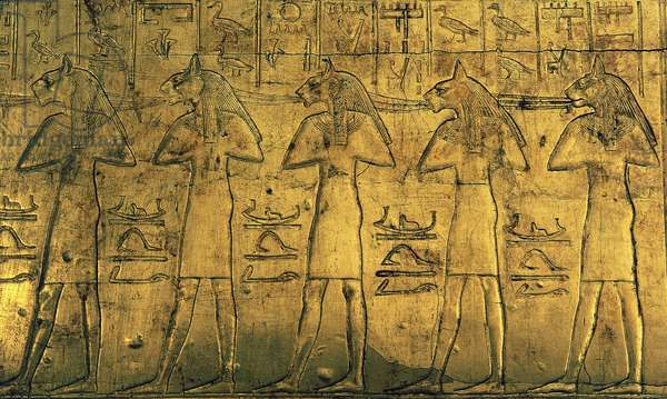 Depiction of deities, external panel of Chapel III, wood covered with gold, from Tomb of Tutankhamun, Egyptian civilization, Dynasty XVIII