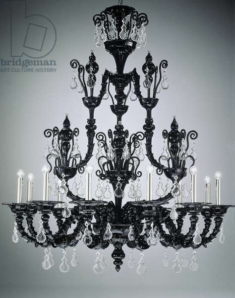 Taif Chandelier with 12 Lights in black glass, Barovier and Toso glassworks, Italy, 20th century