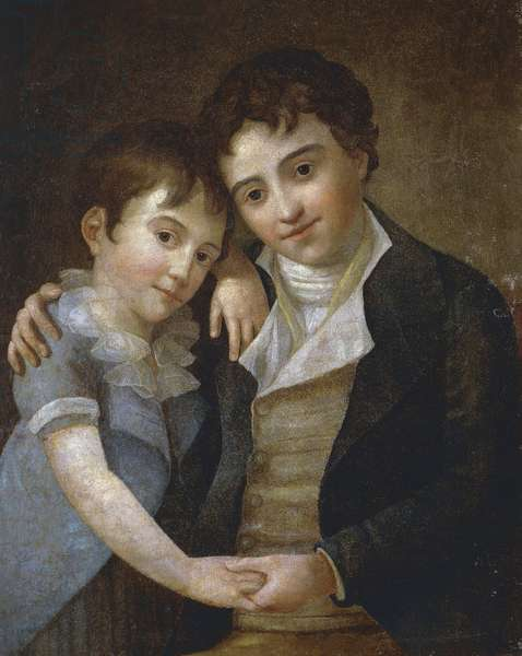 Portrait of Karl and Franz Xaver Wolfgang Mozart, children of the composer Wolfgang Amadeus Mozart (1756-1791) and Constanze Weber in 1798.