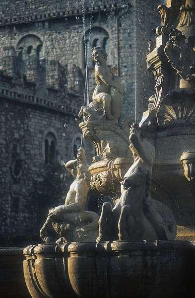 Ttritons and sea horses, Fountain of Neptune (1767-1769), designed by Francesco Antonio Giongo di Lavarone, Piazza del Duomo, Trento, Trentino-Alto Adige, Italy