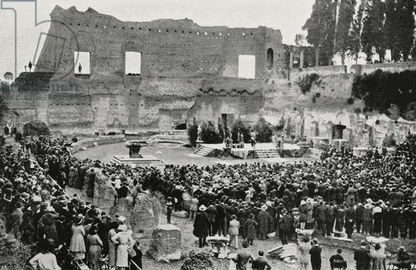 Performance of Phaedra by Gabriele D'Annunzio on Palatine Hill, Rome, Italy, from L'Illustrazione Italiana, Year XLIX, No 44, October 29, 1922