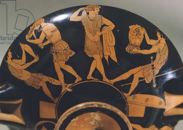 Cup representing warriors arming themselves, attributed to painter Makron, red-figure pottery from Capua, Italy, Greek Civilization, 490 BC