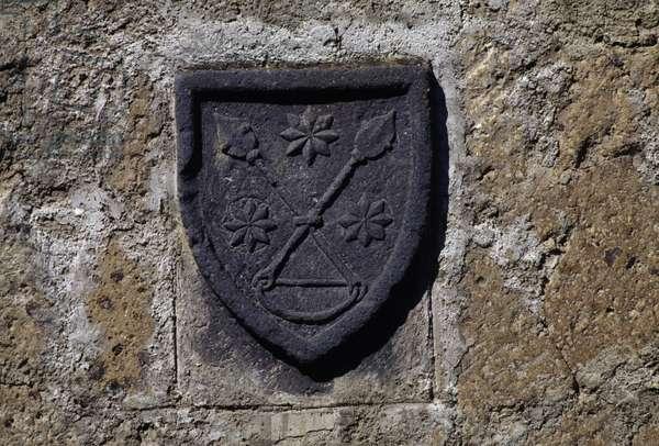 Coat of arms, Civita di Bagnoregio, Lazio, Italy
