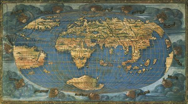 World map on oval projection, by Francesco Rosselli, ink on parchment, created in Florence circa 1508