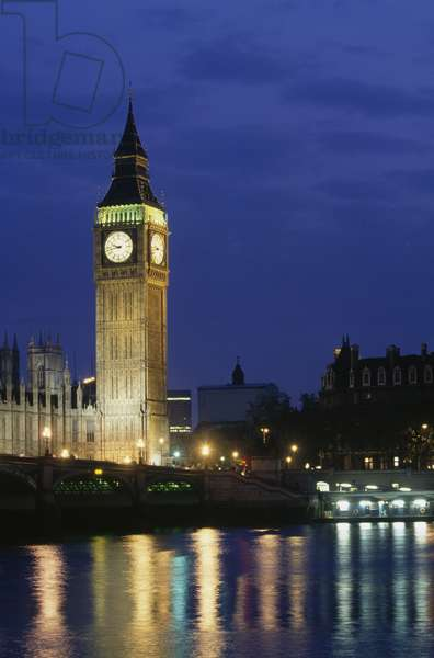 Big Ben, 1834-1858 (UNESCO World Heritage List, 1987), at night, London, England, United Kingdom, 19th century