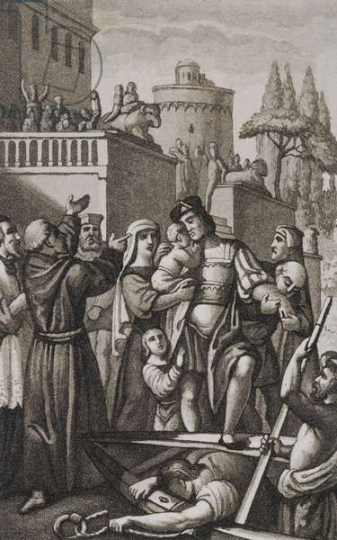 Christopher Columbus saying goodbye to his family in Palos de la Frontera, Spain (1492), engraving from Almanac for the year 1829, Lamperti Typography, Italy, 1829