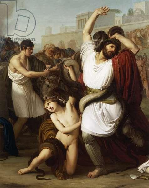 Italy, Milan, Painting of Troyan priest Laocoon, detail