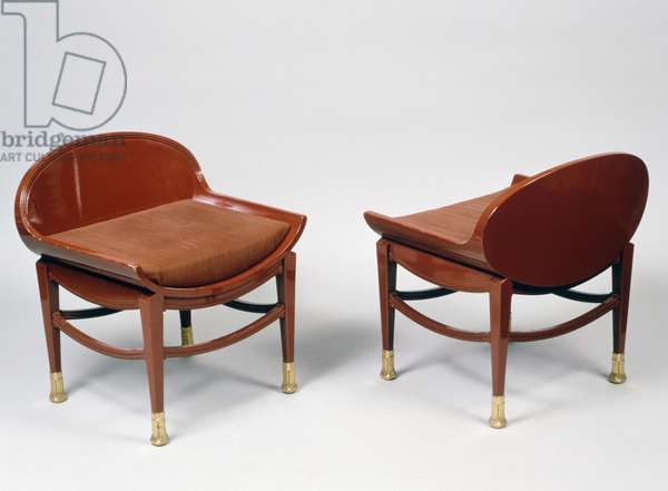 Art Deco style chairs, 20th (red lacquered wood)