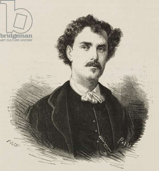 Portrait of Mariano Fortuny (1838-1874), Spanish painter, illustration after photo by Belli, L'Illustrazione Universale, year 2, no 9, December 13, 1874