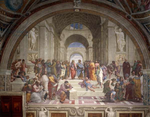 The School of Athens, 1508-1511, by Raphael (1483-1520), fresco, Room of the Segnatura, Apostolic Palace, Vatican City