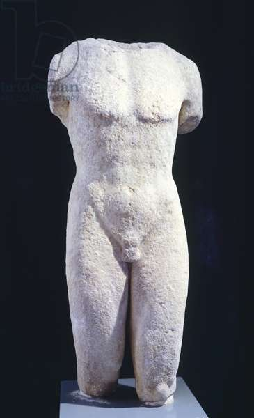 Kouros, marble sculpture of the archaic age, from Thasoa (Greece). Greek Civilization, 6th Century BC.