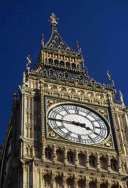 Big Ben, 1834-1858 (UNESCO World Heritage List, 1987), detail, London, England, United Kingdom, 19th century