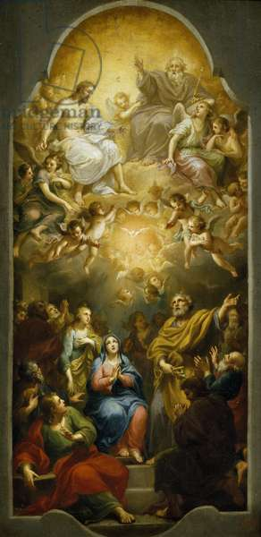 Descent of the Holy Spirit, by Anton Raphael Mengs, 1751, oil on canvas, 1728-1779, 46x255 cm