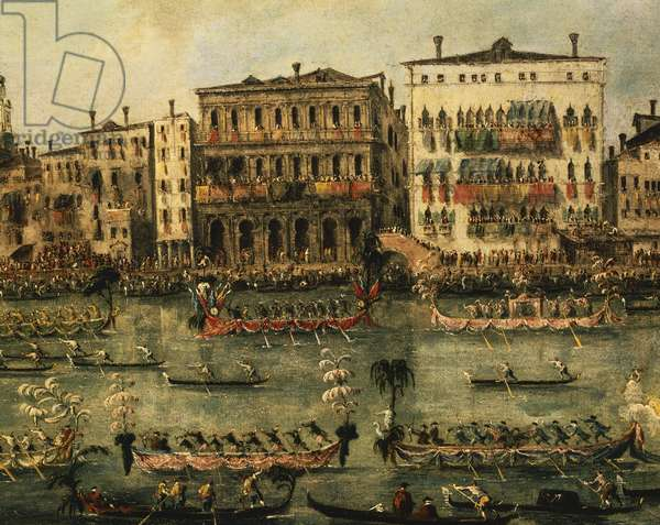 Regatta on Grand Canal near Rialto in Venice, detail