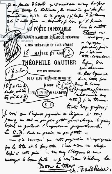 Corrected draft of the dedication page of the Les Fleurs du Mal to Theophile Gautier, by Charles Baudelaire (1821-1867), France, 19th century