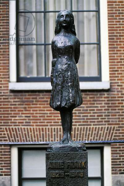 Monument in front of Anne Frank's (1923-1945) house, in Prinsengracht 263, Amsterdam, Netherlands