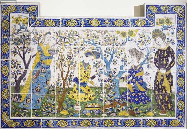 Panel depicting games in garden, ceramic, Chehel Sotoun, Isfahan, Persia, 17th century