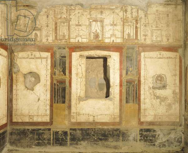 Wall decoration in Fourth Pompeian Style, from House of Loreio Tiburtino, Pompeii , Campania, Roman Civilization, 1st Century