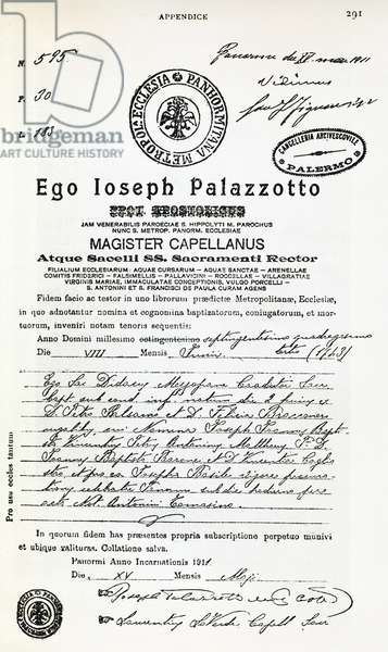 Certificate of Baptism of Giuseppe Balsamo (1743-1795), known as Count Alessandro di Cagliostro, 1743, Italy, 18th century