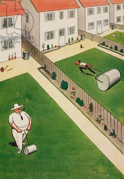 Asymmetry, lawn rolling, cartoon by Henry Mayo Bateman (1887-1970) from The Tatler, No 1366, August 31, 1927, London