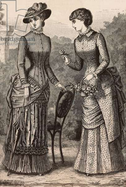 Women wearing plain-checked foulard and Pompadour satinette dresses, Madame Delaunay designs, engraving from La Mode Illustree, No 27, July 2, 1882