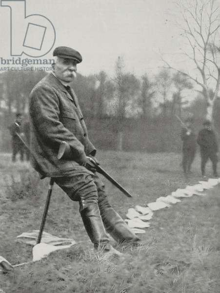 Prime Minister Georges Clemenceau hunting in Rambouillet, France, photograph by Leon Bouet from L'Illustration, No 3333, January 12, 1907